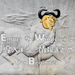 WindowsユーザーでEmacsを導入したい初心者ユーザーのための情報まとめ